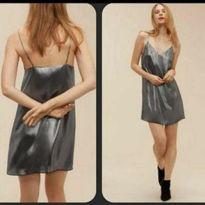 Wilfred Minight Metallic Silver Silk Dress